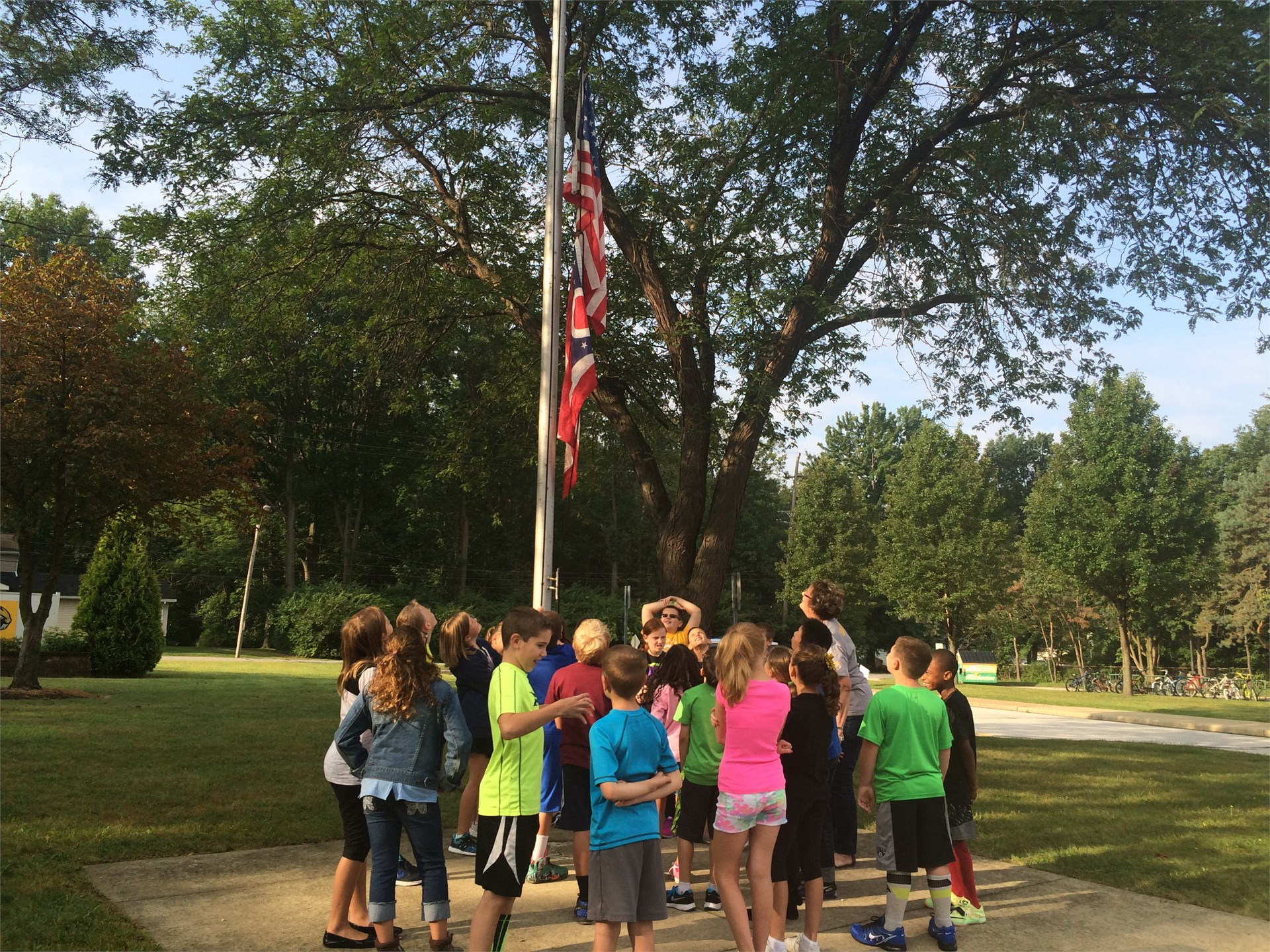 Mrs. Kovatch's class raising the flag!