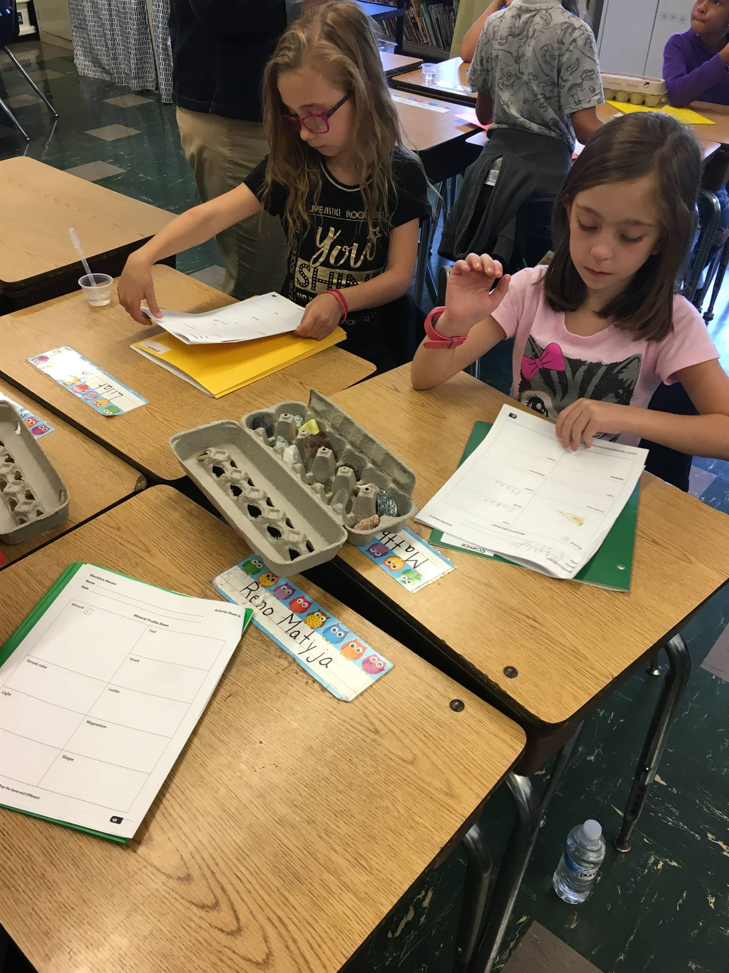 Studying the properties of minerals in third grade!