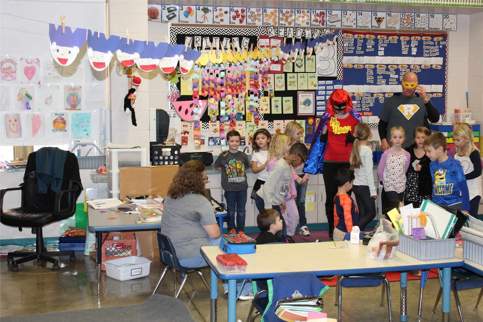 Readerman and Miss Understood Visit 1st Grade Before Leaving